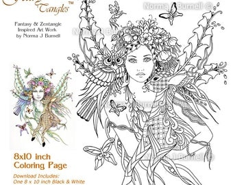 forest fairy deer owl fairy tangles adult printable coloring sheets norma j burnell coloring book - Fairies Coloring Book