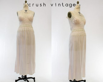40s Radcliffe Nightgown Large / 1940s Lace Cut Out Sheer Maxi Lingerie / Chat Sieste Slip