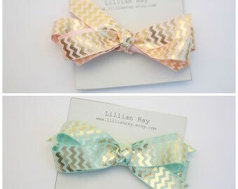 Gold Chevron Bow- Choose your color blue or pink