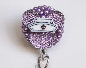 Minnie Mouse Nurse Purple Shimmery Silhouette ID Badge Reel - RN ID Badge Holder - Zipperedheart