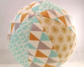 Soft Toy Rattle Ball - Organic Cotton in Aqua Gold and Silver Geometric Prints - Gender Neutral Baby Gift