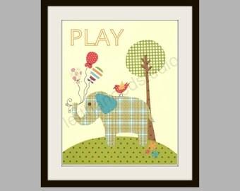 FREE SHIPPING- Children's Art Print, Kids Room Decor, Elephant, Bird, Tree, Nursery, PLAY, 8x10 Art Print by LeftHandedStudio