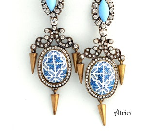 "Portugal Antique Azulejo Tile Replica Rhinestone Chandelier Earrings, Blue   (see photos of actual facade) 8cm 3 1/4"" long"