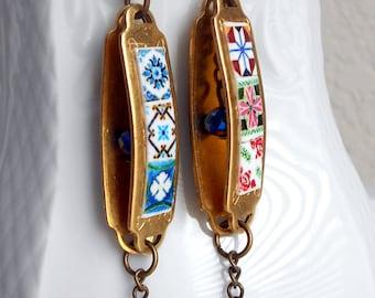 Portugal  12 Antique Azulejo Tile Replica Brass Dangle Earrings Reversible Tribal Assemblage, Indie Hippie Bohemian