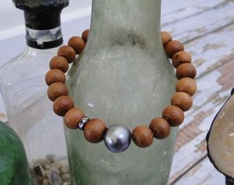 SANDALWOOD BRACELET with gray PEARL, yoga, mala, boho