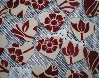 Flocked Cardstock Punched Hearts Red on Cream 27
