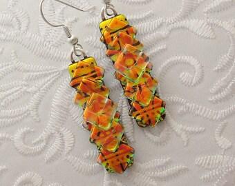Chandelier Earrings - Prism - Crystal Earrings - Sterling Silver - Dichroic Fused Glass Earrings - Fused Glass - Dichroic Jewelry 2850