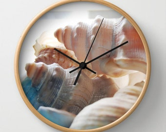 Sea shells photo clock, beach theme wall clock beach home decor beach cottage decor seaside cottage art beach house clock beach shells clock