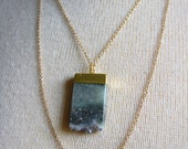 Gold Dipped Uruguay Light Amethyst Slice,Gold Necklace. Druzy Geode Necklace with Layered Gold chains