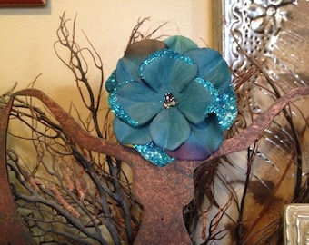 Peacock Blue Flower Hair Clip