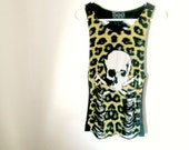 Skull and Crossbones Upcycled Side-less T-Shirt