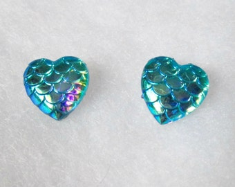 Blue Heart Shaped Iridescent Mermaid Scale Earrings
