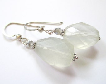 Moonstone earrings, Summer Moon, white stone, sterling and stone jewelry, labradorite