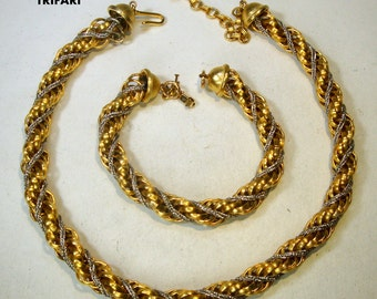 TRIFARI Rope Chain Necklace SET, Choker n Bracelet, 1980s,  Shiny Gold n Silver Classic Design,  Timeless and....Elegant