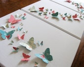 TRIPTYCH Canvas Teal, Coral, Ivory SET. 14x42 Horizontal or 42x14 Vertical. Three 11x14 Canvases. 3D Butterfly Wall Art. Ready to Ship