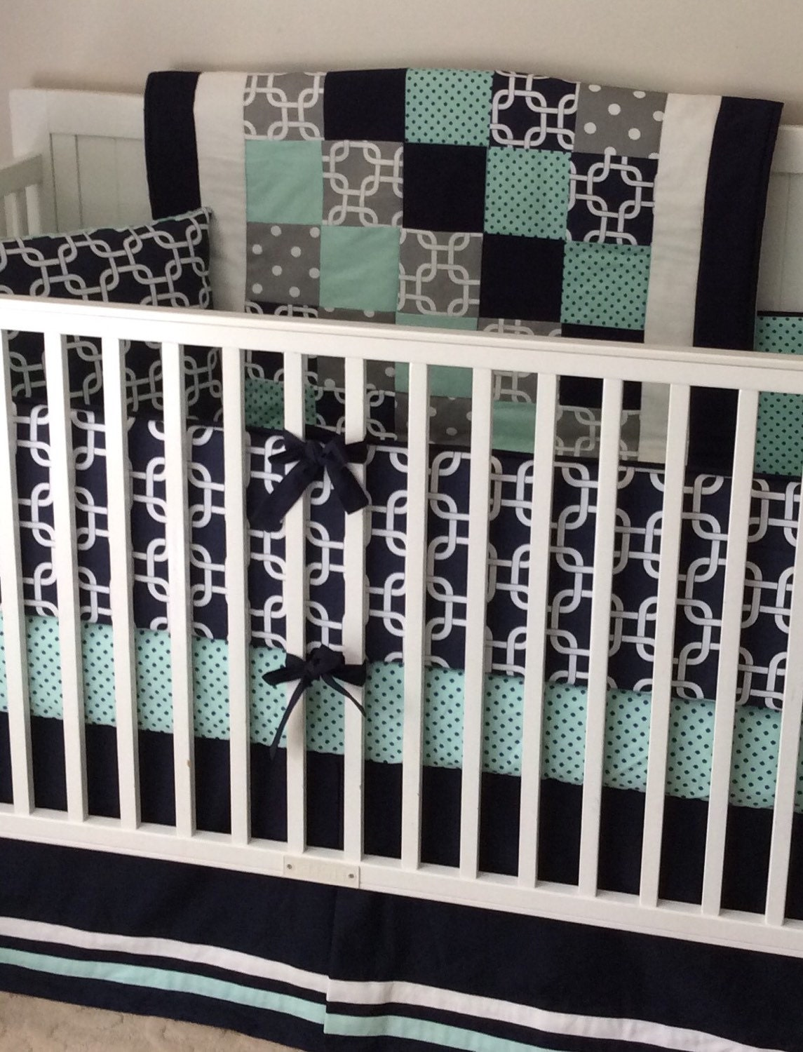 Navy Mint Gray and White Baby Bedding Crib Set Made to Order