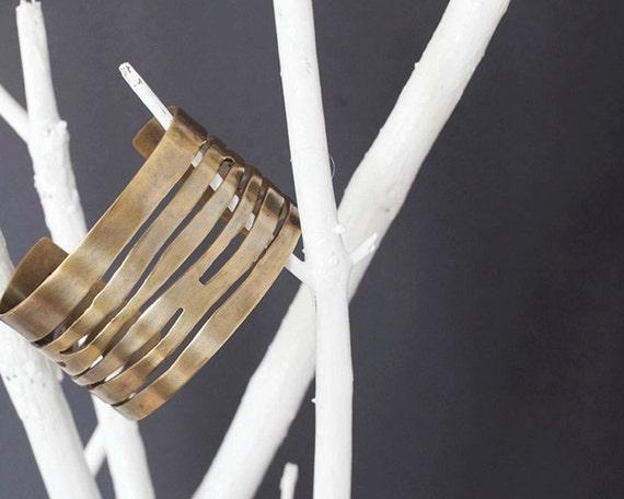 Urban Waves Cuff in Oxidized Brass