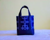 BIBLE TOTE Journaling Bible Tote Perfect Size for your Bible, Journal, Pens, Study guides.  Navy and LIght Blue Geometric design