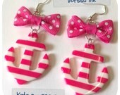 Large Old School plastic Pin Up- style striped Anchor Earrings with pink bow