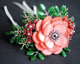 Red Beaded Floral Wrist Corsage, Cuff, or Bracelet, Flower or Floral Accessories, - Lucia