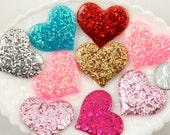 Resin Heart Flatbacks - 36mm Mixed Colors Set Glitter Hearts Resin Cabochons - 7 pc set