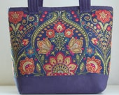 Navy Bouquet Fabric Tote Bag - READY TO SHIP