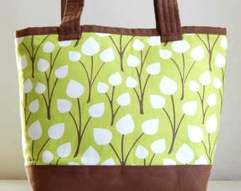 Green Mod Leaves Tote Bag - READY TO SHIP