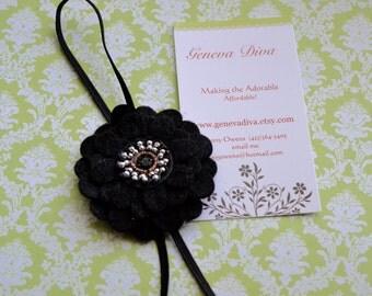 Black Felt Flower Stretch Headband