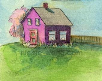 Original ACEO Painting -- Quiet Home