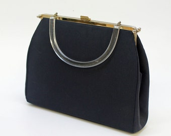 50's / 60's Kelly Style Bag / Navy Fabric / Lucite Handle