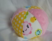 Baby Toy Jingle Ball with Toyland Smiley Flowers Fabric and Minky