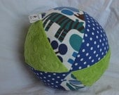 """Large 7"""" 2D Zoo Cloth Jingle Ball Baby Toy with Minky"""
