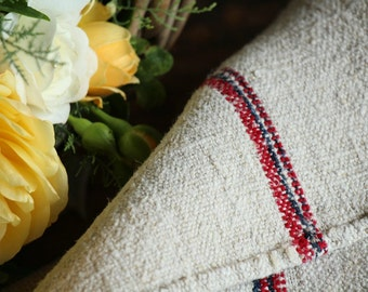 Nr. A79: Grain Sack antique RED and BLUE style organic pillow benchcushion 21.26 inches wide wedding decoration