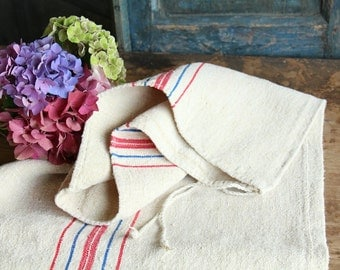 Nr. A77: Grain Sack antique  RED and BLUE style organic pillow benchcushion 19.69inches wide wedding decoration