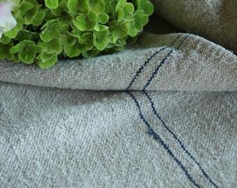 Nr. A140:  antique handloomed  DEEP BLUE grain sack for pillows cushions runners 20.87 wide
