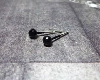 Black Ball Stud Earrings - Size M - 925 Sterling Silver
