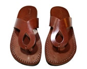 CLEARANCE SALE - Brown Cross Leather Sandals for Men & Women - EURO # 37 - Handmade Sandals, Leather Flats, Leather Flip Flops, Sale Item
