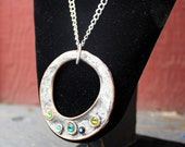 Artisan necklace, large silver donut pendant, large round pendant, pendant necklace
