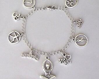 Yoga bracelet or yoga necklace, yoga charm bracelet, inspirational bracelet, meditation bracelet, I Love Yoga necklace
