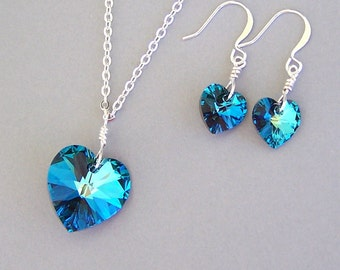 Bermuda Blue heart necklace and earrings, Valentine's Day gift, Swarovski crystal 18mm Bermuda Blue heart pendant, 10mm heart drops, bridal