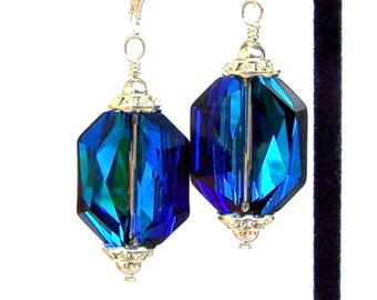 Bermuda Blue bridal earrings, Swarovski crystal, sterling silver leverbacks, Bermuda Blue graphic large earrings