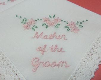 mother of bride/ groom wedding handkerchief, hand embroidered, bouquet wrap,wedding favor, blush pink,wedding colors welcome, rustic wedding