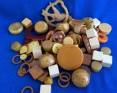 Amazing Vintage Bakelite Collection of 80 Pieces Yellow, Gold, Brown, Butterscotch, Apple Juice, Cream for Crafts, Jewelry, Projects, Sewing