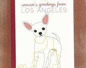 Season's Greetings From Los Angeles Chihuahua Holiday Cards (10/box)