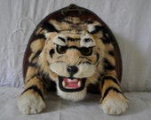 Small Taxidermy Tiger Lynx Head/Vintage Wall Mount Exotic Animal/Spooky Wall Decor
