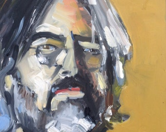 "Original Self Portrait Painting . ""Colorful Self Portrait, 10x10 in."