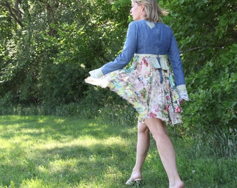 upcycled clothing, sustainable fashion, long sleeved dress . channing . S