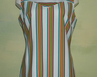 L  70s Curvy H Bar C Summer Tank Rodeo Cowgirl Rainbow Stripe Western Sleeveless Shirt Double Knit Zipper Back