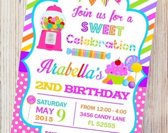 Candyland Printable Invitation,Candy Shop Birthday Invitation, DIY Candyland Birthday Party, Sweet Shoppe