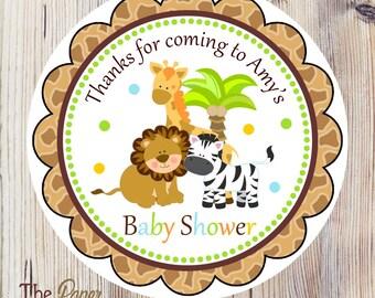 Safari Baby Shower Favor Tags, Printable Safari Hang Tags, Digital Safari Favor Tags, Jungle Baby Shower, DIY